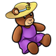 Teddy Bear wearing a yellow hat and purple dress