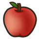 Red Apple with black outline