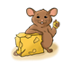 Mouse Eating Cheese on tan floor