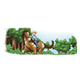 Boy Riding Horse with tree background