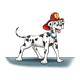 Dalmatian with fireman's hat