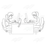 Two Typing Girls