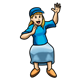Waving Girl wearing a blue hat, shirt, and skirt