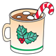 Christmas Mug with hot chocolate, marshmallows, and a candy cane