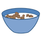 Blue Bowl with cereal and milk