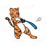 Tiger Playing Baseball