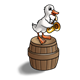 Duck Making Music playing saxophone on a barrel