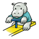 Hippo on teeter-totter