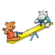Bear and Hippo on teeter-totter