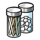Cotton Balls and Sticks in jars