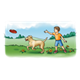 Boy Throwing Flying Disc with dog and scenery