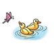 Two Ducklings with pink butterfly