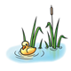 Duckling with Cattails