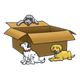 Three Puppies with a box