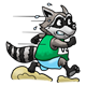 Raccoon in animal race