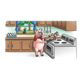 Pig in Kitchen cooking eggs