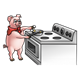 Pig Cooking eggs on stove