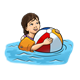 Girl with Beach Ball in water