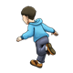 Boy in Blue Hoodie running