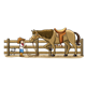 Little Cowboy with horse in corral and black and white dog