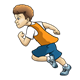 Sprinting Boy in orange jersey