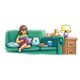 Girl Reading to Cat on green couch in living room