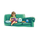 Girl Reading on green couch