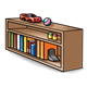 Bookshelf with toys and books