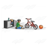 Boy Fixing Bicycle Tire
