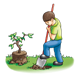 Boy Digging Hole planting a tree