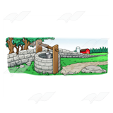 Stone Wall and Well Scene