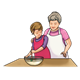 Grandma Baking with granddaughter stirring