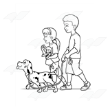 Children Walking Dalmatian