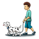 Boy Walking Dalmatian on a leash