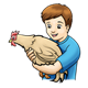 Boy Holding Chicken tan chicken