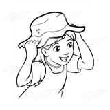 Girl Wearing a Floppy Hat