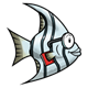 Gray-White Striped Fish with glasses and a red book