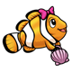 Clownfish with pink bow and pink shell lunchbox