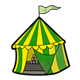 Striped Carnival Tent green and yellow with games and flag