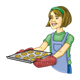 Lady with Red Oven Mitts holding a tray of cookies