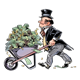 Man in Suit with a wheelbarrow full of money
