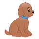 Brown Puppy with blue collar, sitting