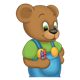Button Bear holding two crayons in right hand