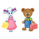 Amber Lamb, Button Bear holding lunchboxes