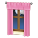 Window with Pink Curtains and moon outside