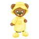 Button Bear wearing a raincoat, hat, boots