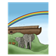 Animals Leaving the Ark with rainbow in background
