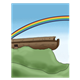 Ark on the Mountain with rainbow in background