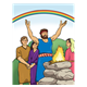Noah and family sacrificing, rainbow in background