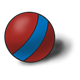 Red Ball with blue stripe